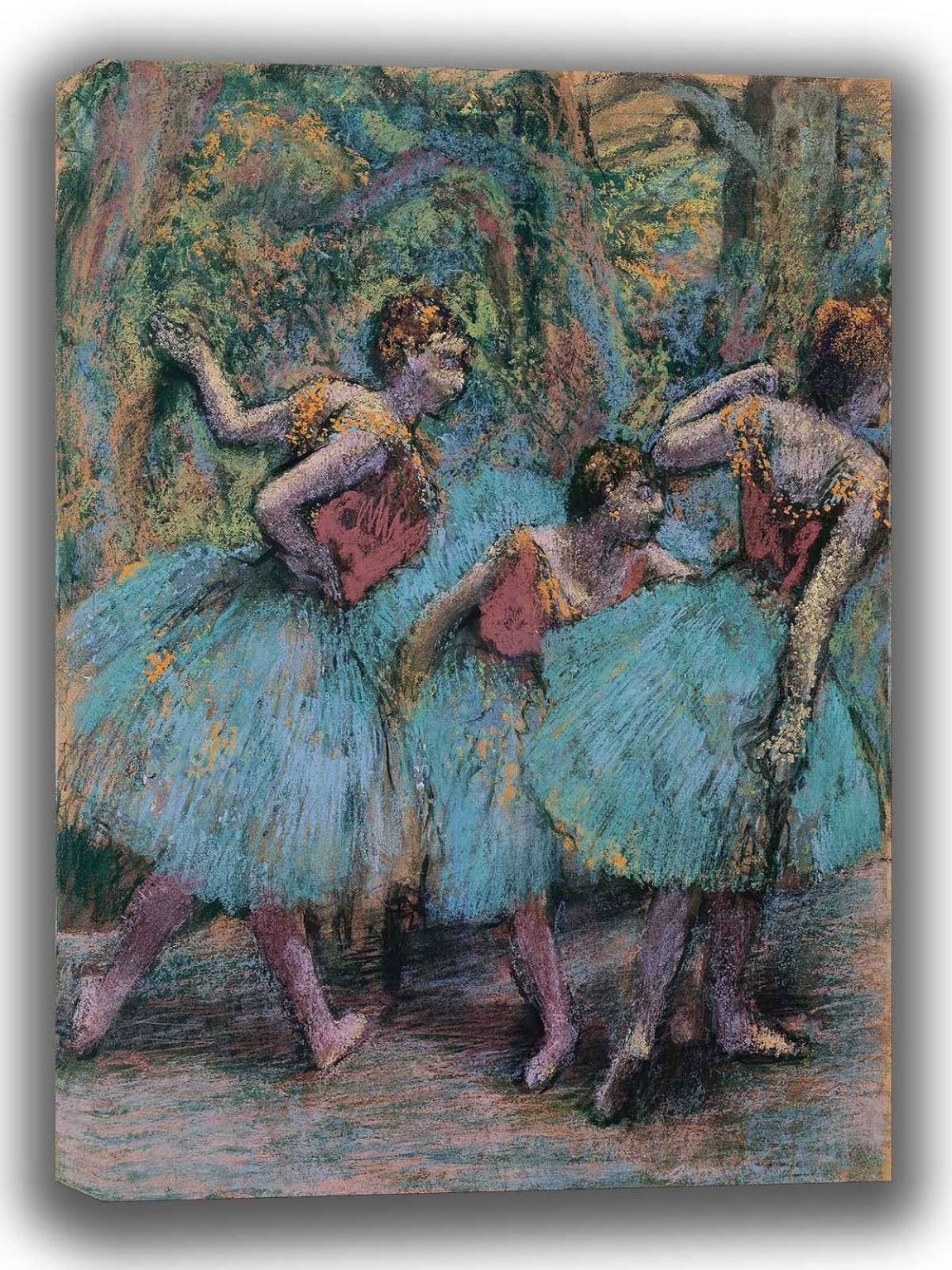 Degas, Edgar: Three Dancers (Blue Tutus, Red Bodices). Fine Art Canvas. Sizes: A4/A3/A2/A1 (003771)